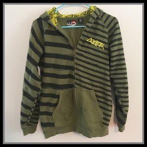 Quiksilver Green Striped Zip Up Hoodie